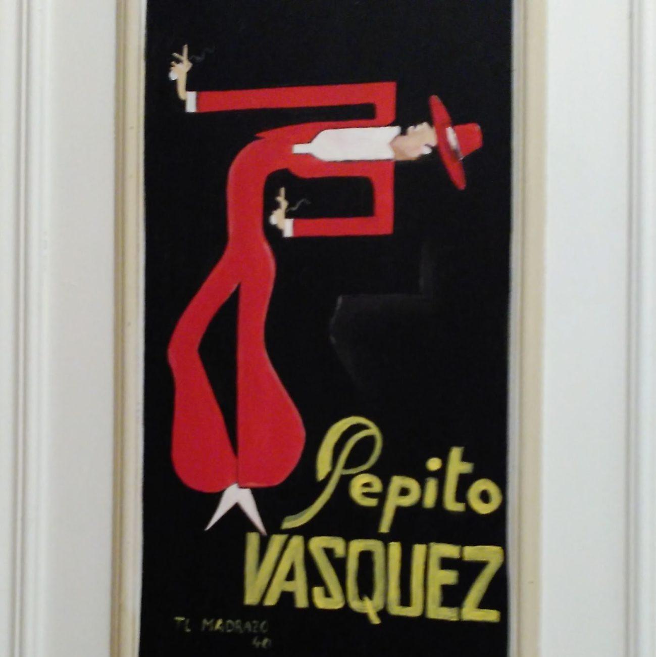 Detalle pintura sobre puerta aseos, en Visconti. Inma Gregori 2015.